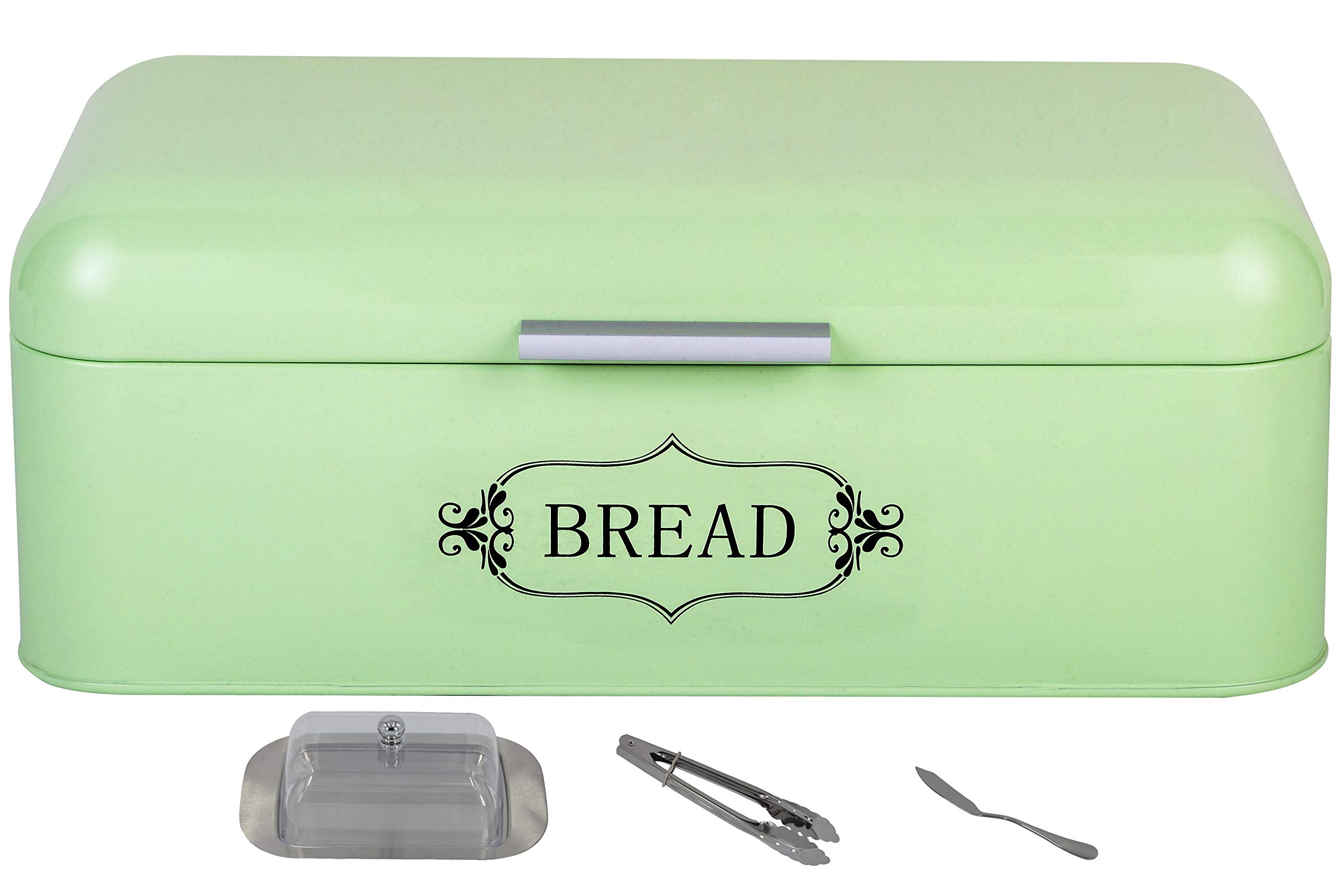 SUNERIC Vintage Bread Box for Kitchen | 16.5''X9''X6.3'' Steel Bread Bin with Powder Coating with Free Butter Dish, Butter Knife and Tong (Light Green)