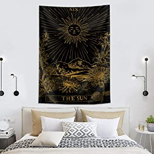 Irongarden Sun Tarot Tapestry Medieval Europe Divination Tapestry Wall Hanging Tapestries Mysterious Wall Tapestry Hippie Boho Wall for Home Decor 59×82 Inches The Sun Gold Black