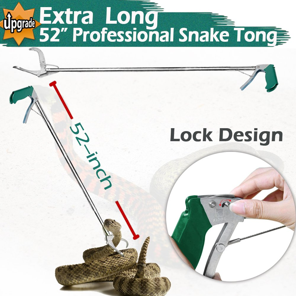 IC ICLOVER Professional 52'' Upgrade Heavy Duty Extra Long Snake Tongs Reptile Grabber Rattle Snake Catcher Wide Jaw Handling Tool with Non-slip Grip Handle