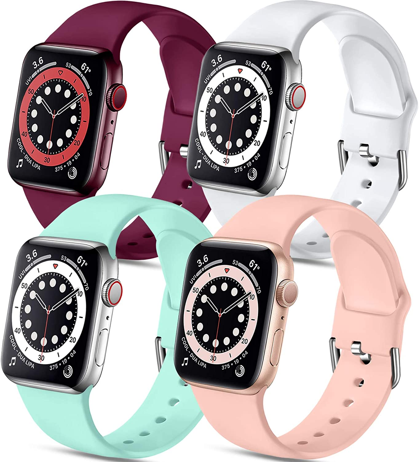 Muranne Compatible with Apple Watch Band 40mm 38mm iWatch SE & Series 6 & Series 5 4 3 2 1 for Women Men, Cute Durable Soft Silicone Sport Replacement Strap, Black Red Gray Blue Gray, S/M