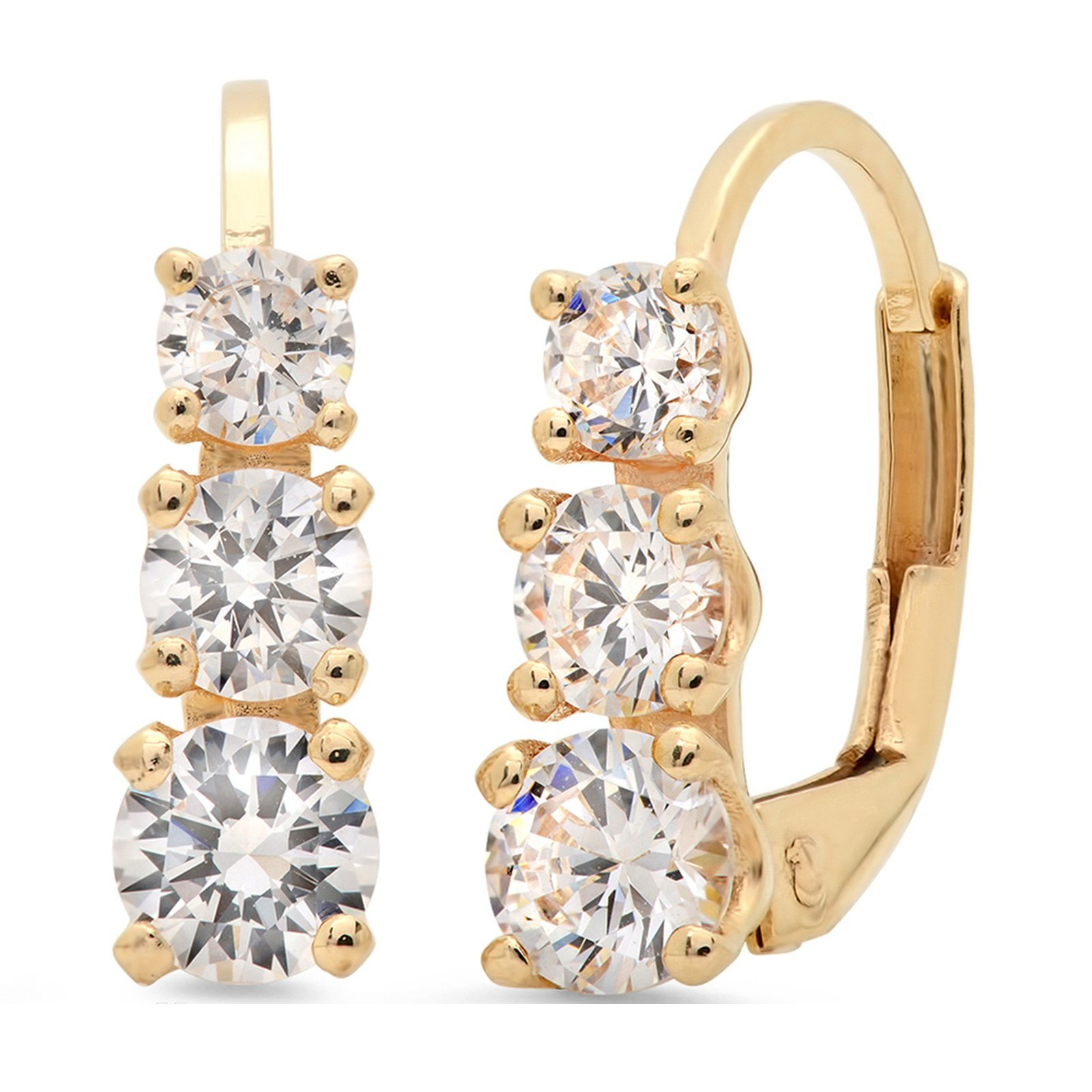 Clara Pucci 2.40 CT 3 Stone ROUND CUT Earrings 14K Yellow Gold Past Present Future Leverback