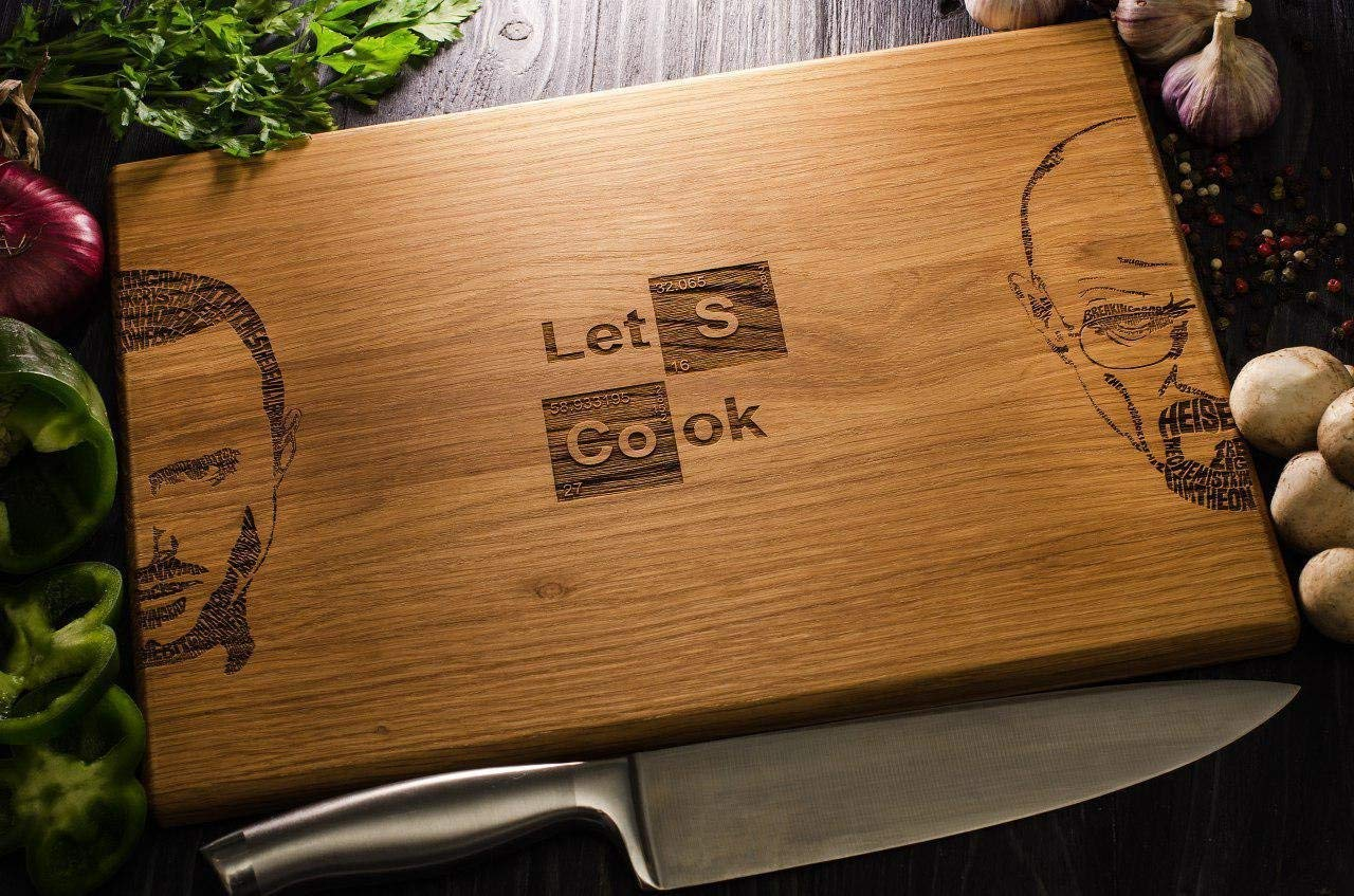 Breaking Bad Let's Cook Personalized Engraved Cutting Board Custom Wedding, Anniversary, Housewarming, Birthday Gift breaking04