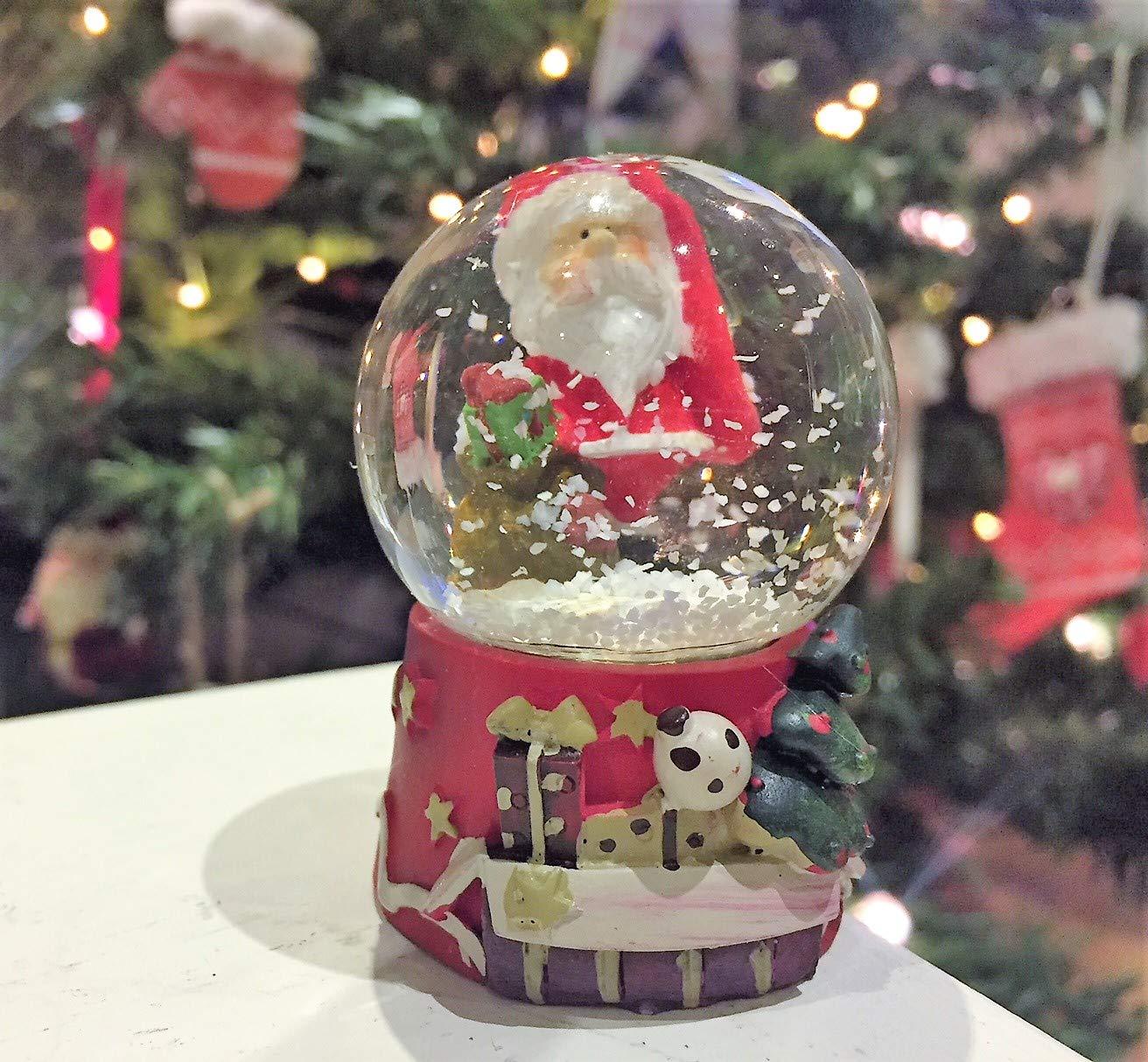 Piccolo Babbo Natale in vetro palla di neve Babbo Natale con sacco Mezzaluna Gifts