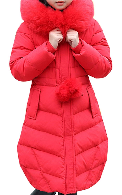 JiaYou Girl Child Kid Faux Fur Hooded Long Winter Warm Outwear Coat USGA042