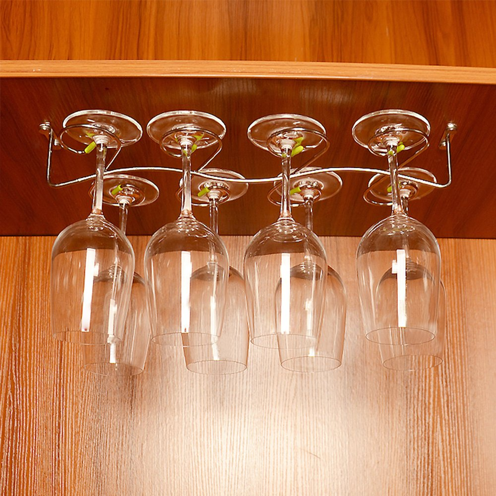 GeLive Upgrade Under Cabinet Wine Glass Hanger Rack, Stainless Steel Stemware Holder for Home, Bar, Holds up to 8 Glasses