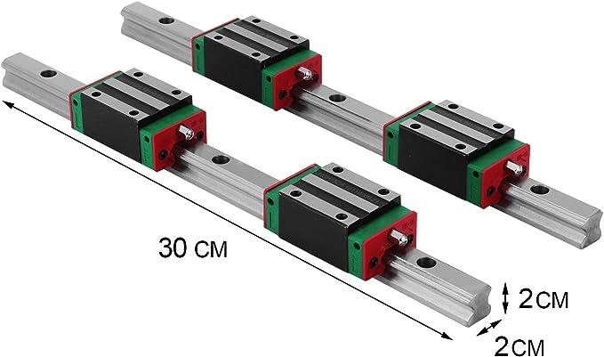 500 mm. FTVOGUE Lot de 2 rails de guidage lin/éaires et 4 blocs coulissants HGR15