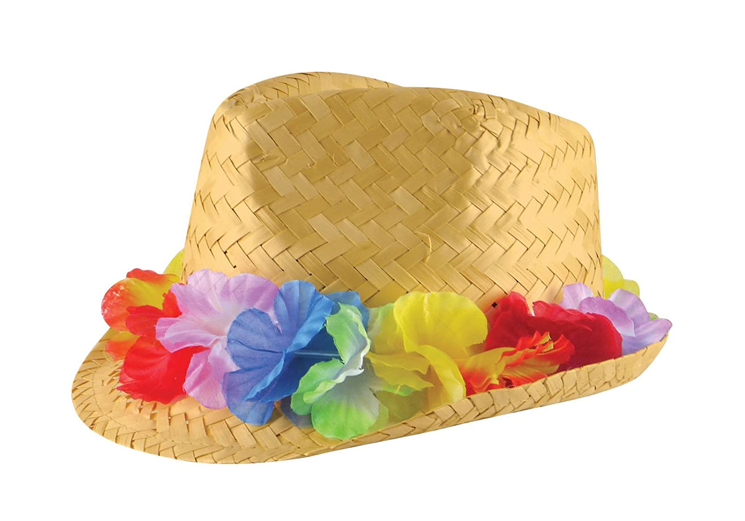 Eshoppingwarehouse Adults Unisex Gangster Straw Hat W/Flower Band Hawaiian Hula Party Headwear Hat Straw Hat W/Flower Band)