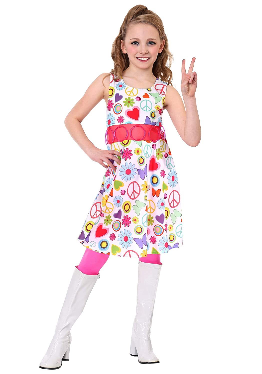 60s 70s Kids Costumes & Clothing Girls & Boys Girls Peace & Love Hippie Costume $9.99 AT vintagedancer.com