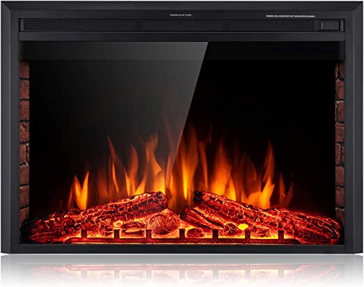 Electric Fireplace Log Free Standing Glow Set Real Wood Comfort Insert Crackling