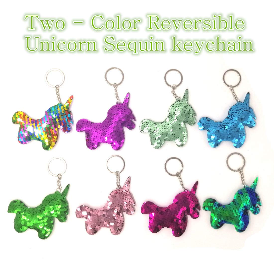 JACHAM 8 Colors Mermaid Keychain Magic Birthday Party Favor Gifts for Women Girls and Kids Decorative Reversible Sequin Flip Little Mermaid Tail Keychains