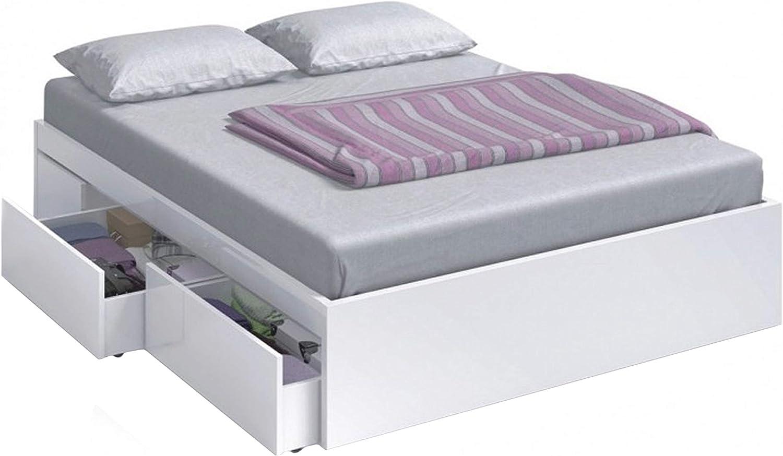 Habitdesign 006088BO - Cama con 4 cajones para somier 150 x 190 cm, Color Blanco Brillo, Medidas Exteriores 196 x 156 x 37 cm Altura