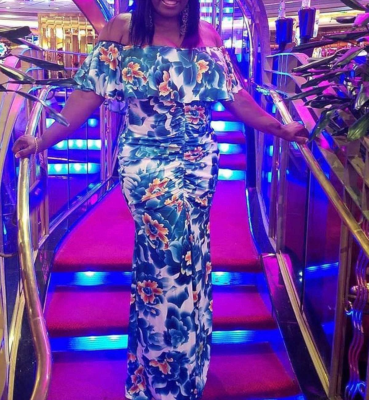 Womens Off Shoulder Dress Hawaiian Floral Evening Gown Long Maxi Dress