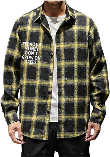CAOQAO Camisa Hombre Manga Larga La Moda de impresión a Cuadros Suelta Solapa Camisa de Manga Larga Tops Blusa: Amazon.es: Ropa y accesorios