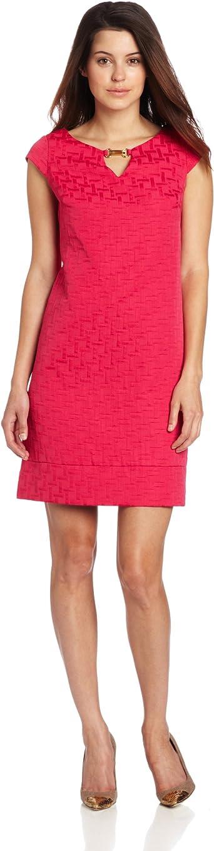 Jessica Howard Womens Petite Cap Sleeve Split Neck Shift Dress