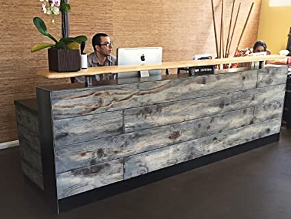8 Foot Memphis Reception Desk Made With Reclaimed Wood And Metal Multi Use In