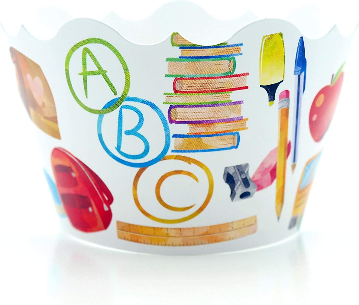 Back To School Party Supplies Cupcake Wrappers (12 Pack) - ABC Teacher Appreciation Gift Ideas, Class Birthday Party Snack Food, School Celebration Party Favors