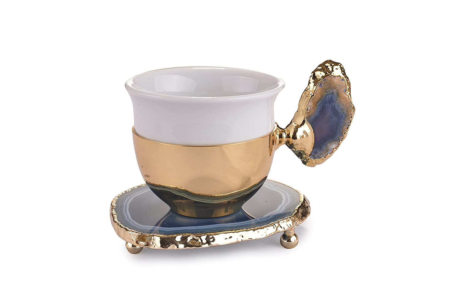 MisterCopper New Premium Turkish Coffee Espresso Cup and Saucer Decoreted with Natural Stone for 1 (NO STONE COLOR OPTION) (Gold)