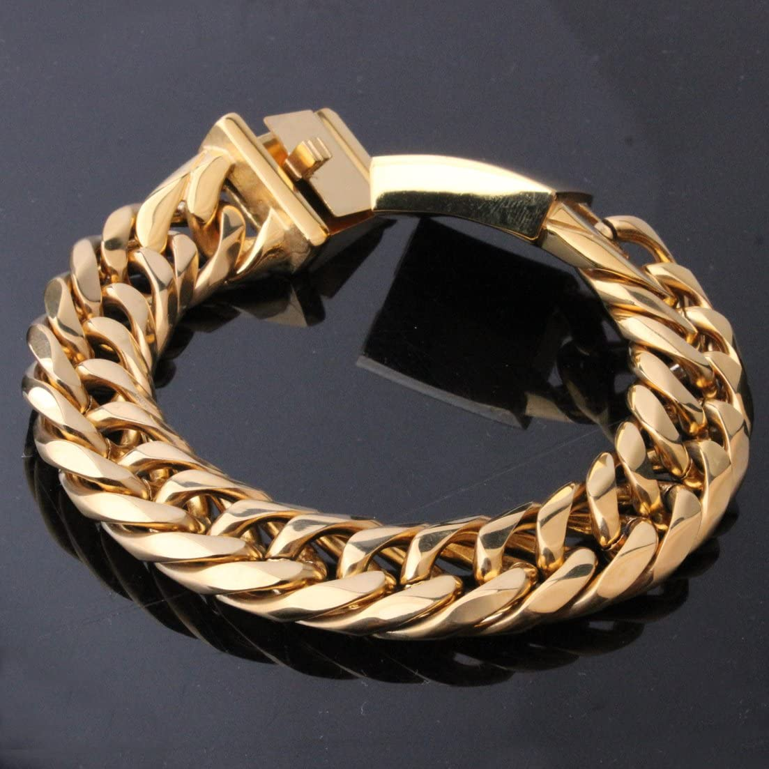MUYING JEWELRY 16MM Fashion Huge Stainless Steel Charming 18K Gold Plated Curb Cuban Link Chain Mens Necklace Or Bracelet 1PCS