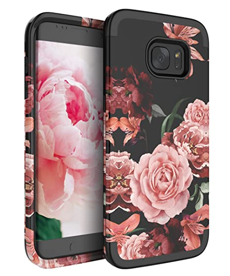 low priced 4f5c6 24dfc RabeMall Samsung Galaxy S7 Edge Case Unique Pretty Flowers for Girls/Women  Anti-Fingerprint Three Layer High Impact Resistant Hybrid Shockproof ...