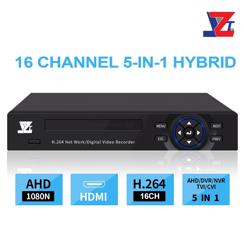 JZTEK 16ch 1080N Hybrid 5-in-1 AHD DVR (1080P NVR+1080N AHD+960H Analog +TVI+CVI) CCTV 16 Channel Standalone dvr Quick QR Code Scan w/Easy Remote View Home Security Surveillance Camera System