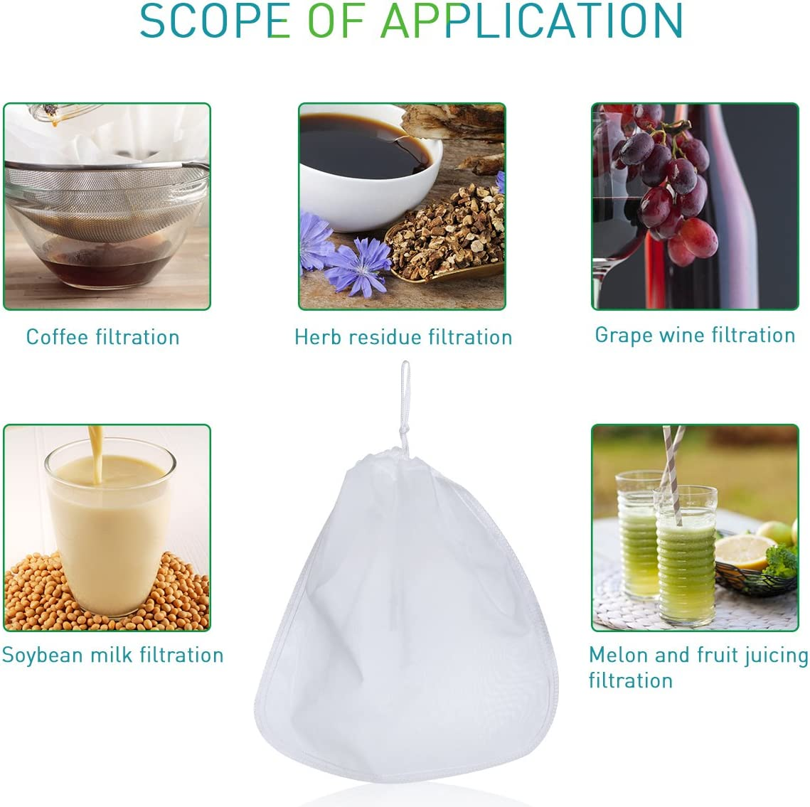 Compra 200μm Nut milk bag, OUNONA bolsa para hacer leches ...
