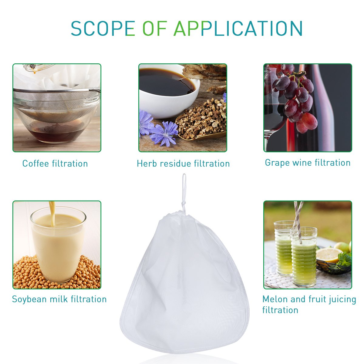 BESTOMZ Bolsas reutilizables de leche de 200 µm - Bolsa de filtro de té de café de queso de malla de alimentos de malla de grado comercial de alimentos: ...