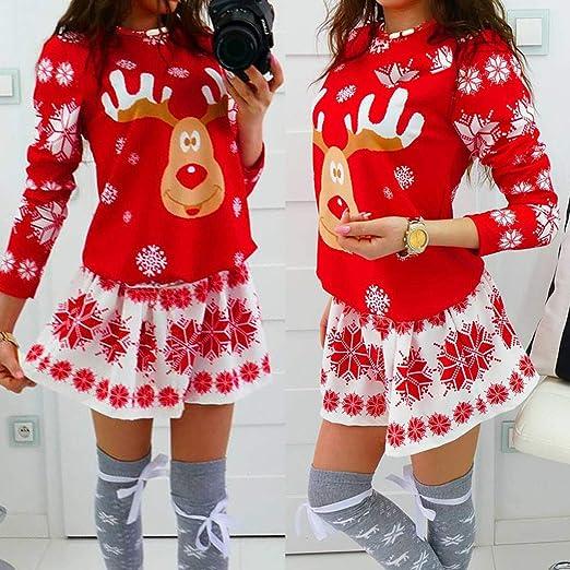 WUSIKY Weihnachtskleider für Damska Geschenk für Frauen Weihnachtskleid Mode Frohe Christmas Oansatz Schneeflocke Elch Print Christmas Langarm Minikleid: Odzież