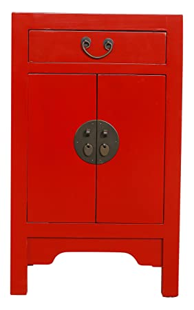 Fine Asianliving Table de Chevet Chinois Meubles Petite Table de Nuit Rouge avec  tiroir Oriental Asiatique 4050b7dbd49a