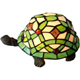 Bieye L10219 Turtle Tiffany Style Stained Glass Accent Table Lamp, Night Light, Green
