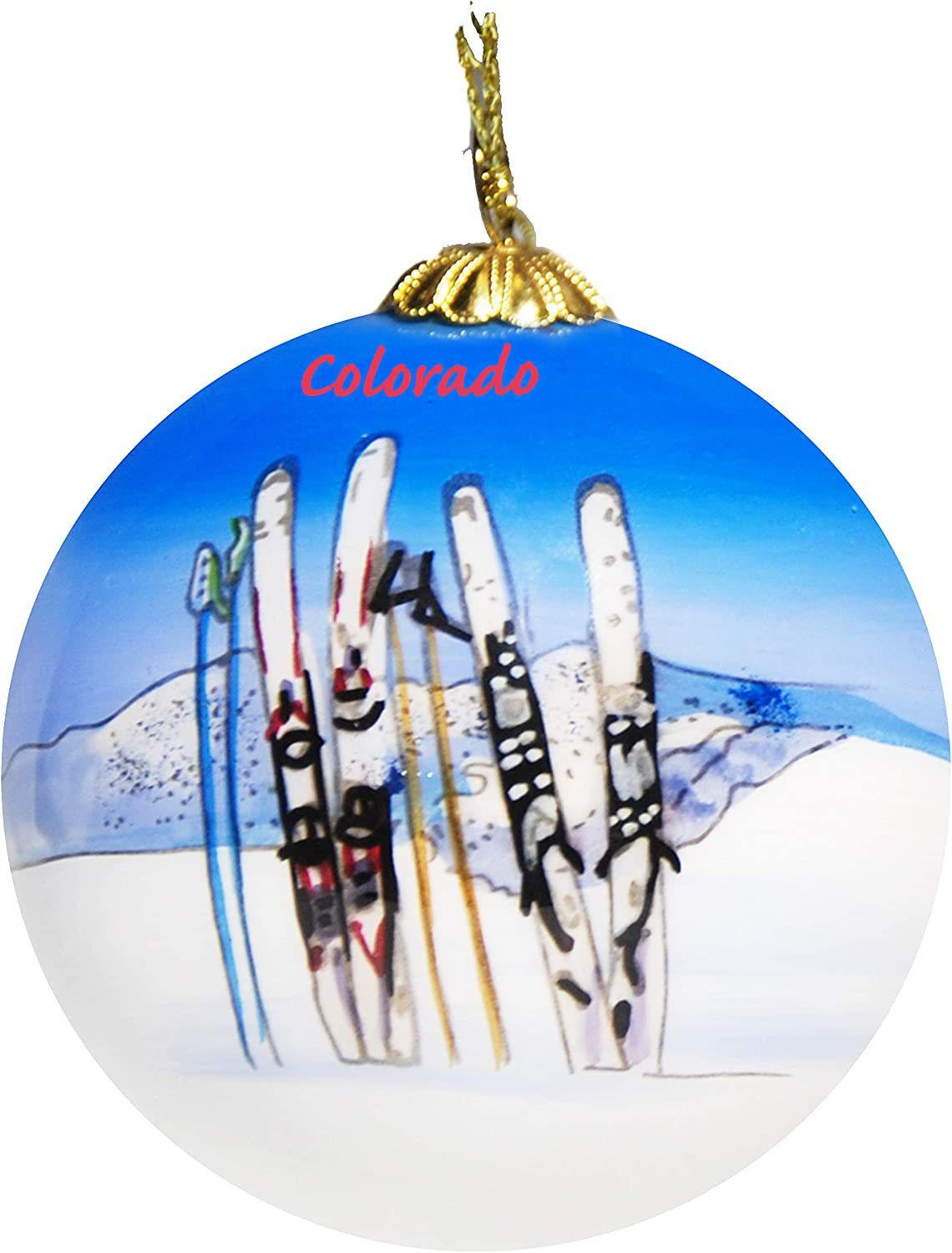 Art Studio Company Hand Painted Glass Christmas Ornament - Skis & Poles in Snow Colorado
