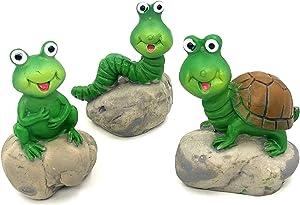 Trasfit 3 Pieces Fairy Garden Accessories Cute Animals on Rock, Miniature Turtle, Frog, Caterpillar for Micro Landscape Decoration Plant Pots Bonsai Craft Desktop Decor