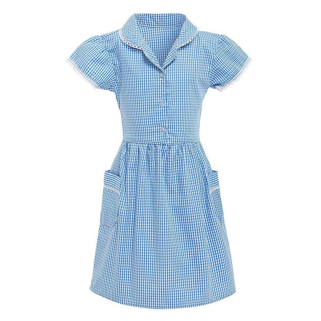 Heligen - Vestido de Verano para niña con diseño de Cuadros ...