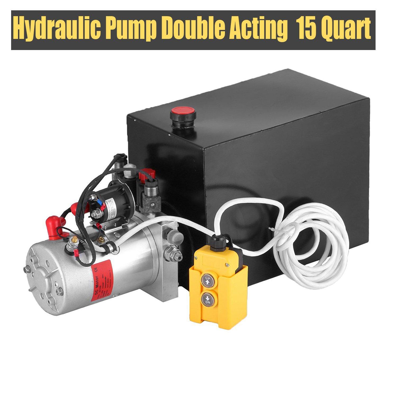 Happybuy Hydraulic Pump Double Acting 15 Quart Metal Reservoir Electric Hydraulic Pump Unit for Dump Trailer (Double Acting 15 Quart)