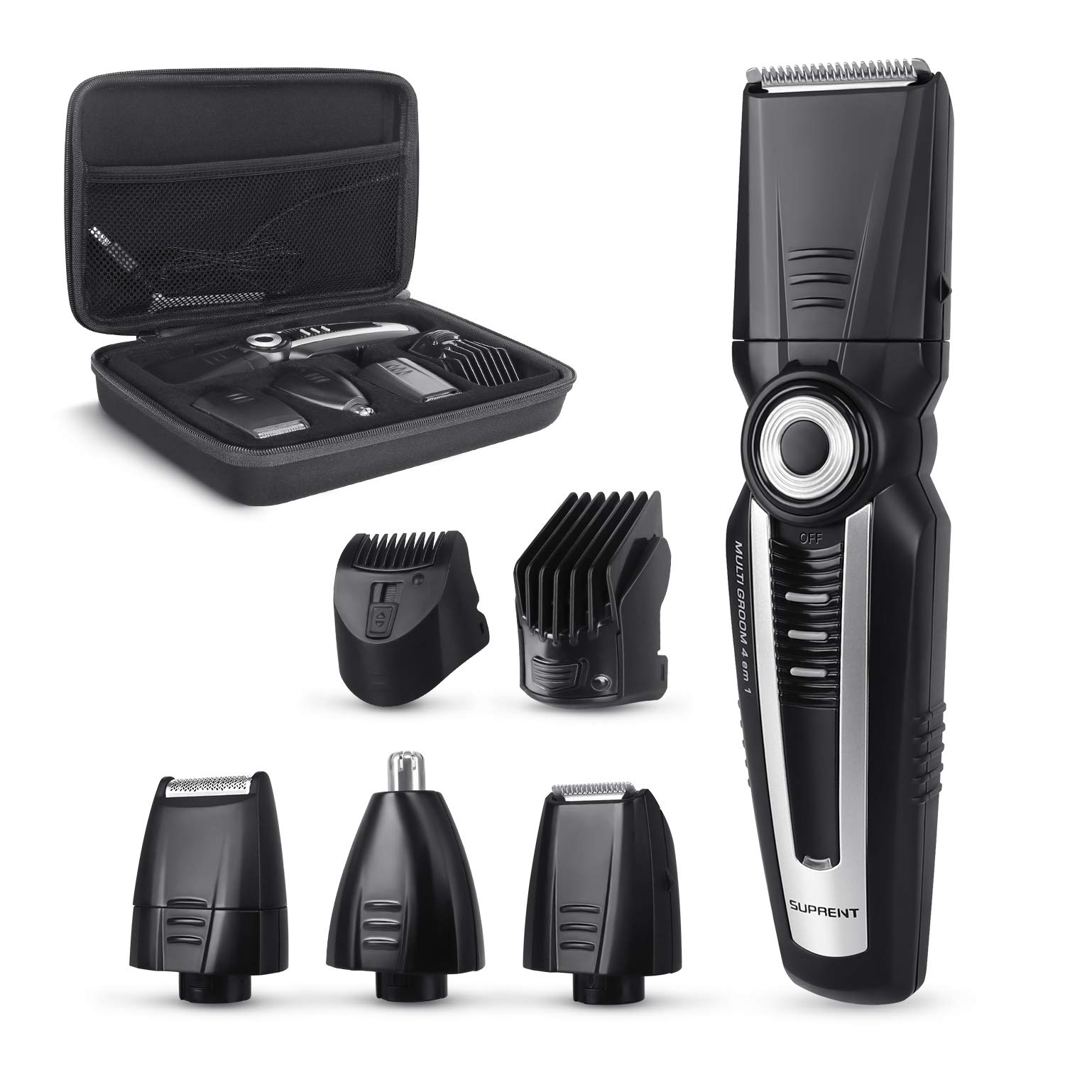 SUPRENT Beard Trimmer Kit, 4 in 1 Multi-functional Body Groomer Kit of Mustache Trimmer, Nose Hair Trimmer and Precision Trimmer, Storage Bag,Rechargeable Cordless BT275B-15
