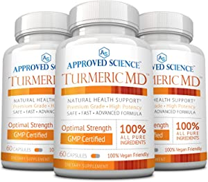 Turmeric MD - with BioPerine & 95% Standardized Turmeric Curcuminoids - Natural Anti-Inflammatory, Antioxidant, Pain Relief and Antidepressant - 180 Capsules (3 Months Supply)