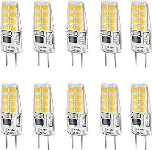 LEKE G8 Bulb Warm White 3000k G8 LED Bulb 3W Equivalent to G8 Halogen Bulb 20W-25W Dimmable G8 Light Bulb, AC 110v/120v/130v(10 Pack)