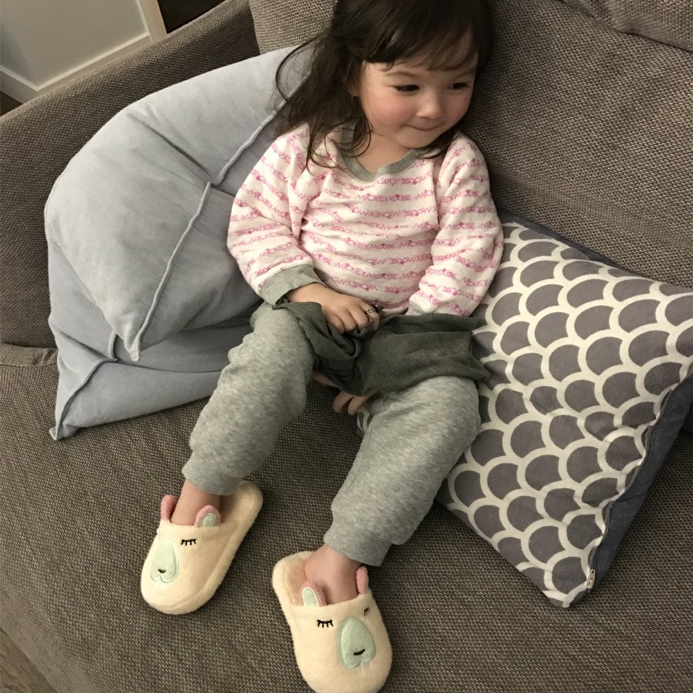 Breganwood Organics Toddlers Terry House Slippers for Boys and Girls, Closed Toe with Non Slip Sole, Pastel Peach Animal Design, Busy Beaver by Breganwood Organics (Image #7)