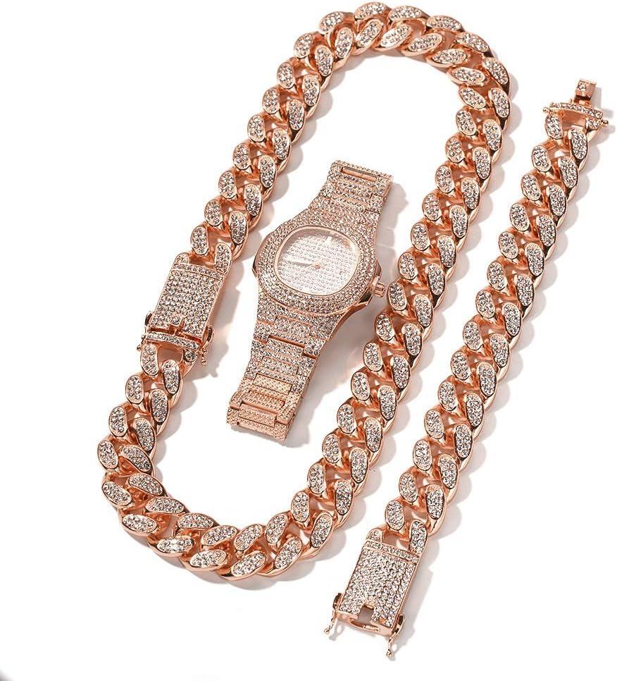 Reloj de Diamantes de Gama Alta de Hip-Hop, Pulsera chapada en Oro, Pulsera, Reloj, Joyas, Hombres y Mujeres, Regalo de Tres Piezas de Adorno (Oro, Plata, Oro Rosa) Reloj