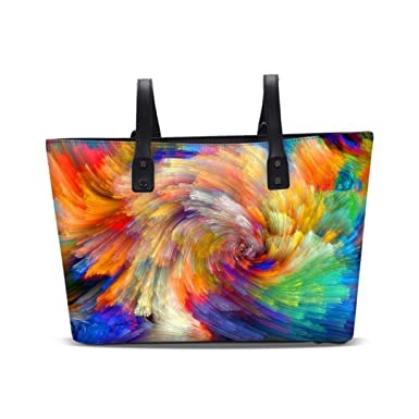 Summer Women Handbags Ladies Tote Bags Designer Colorful Printing Handbag Girls Shoulder Bag Leather Black