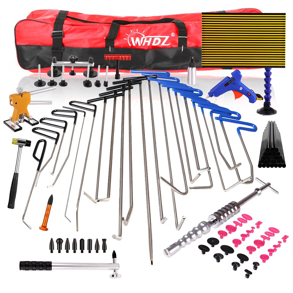 WHDZ 86PCS Paintless Dent Repair Tool Paintless dent Repair Rods Kit with Slider Hammer Dent Lifter Bridge Puller Set LED Line Board for Pop a Dent