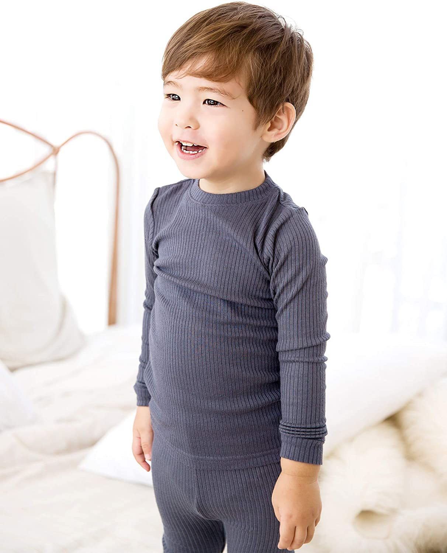 VAENAIT BABY 12M-12 Toddler Kids Girls Boys Soft Rib Knit Solid Modal Tencel Fabric Sleepwear Pajamas 2pcs Set