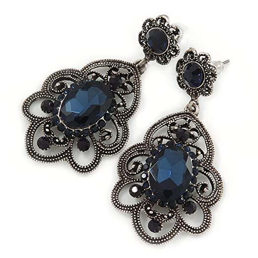 Vintage Inspired Sapphire Blue Crystal Square Clip On Earrings In Antique Silver - 25mm L BH8IX3