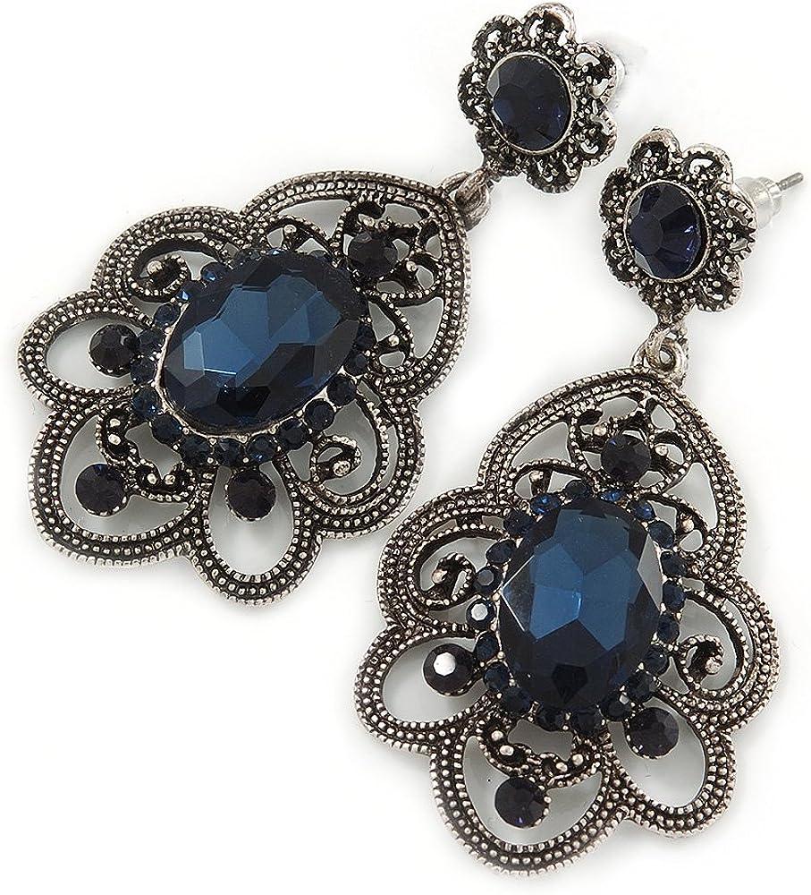 Estilo victoriano Filigrana Montana cristal azul, Crystal gota Pendientes en tono plateado antiguo–50mm L