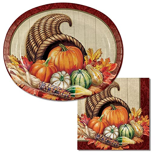 sc 1 st  Thanksgiving Wikii & Cornucopia Plates and Napkin Sets
