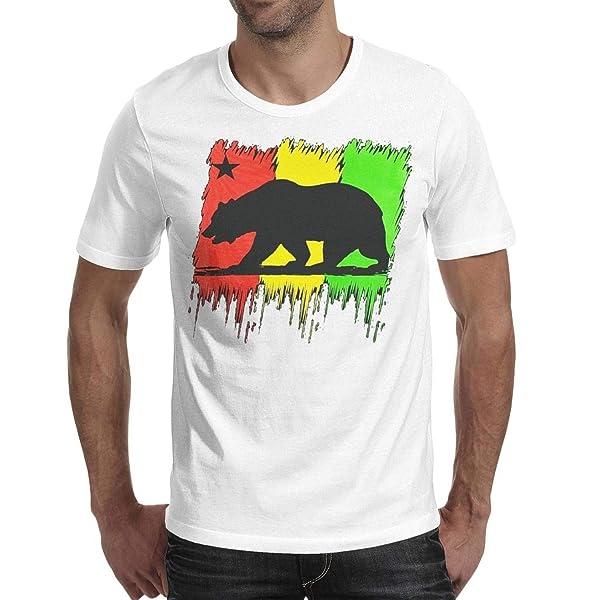 S Rasta California Bear Flag Summer T Shirts Cool Short Sleeve Basic Crew Neck T Shirt Tees For