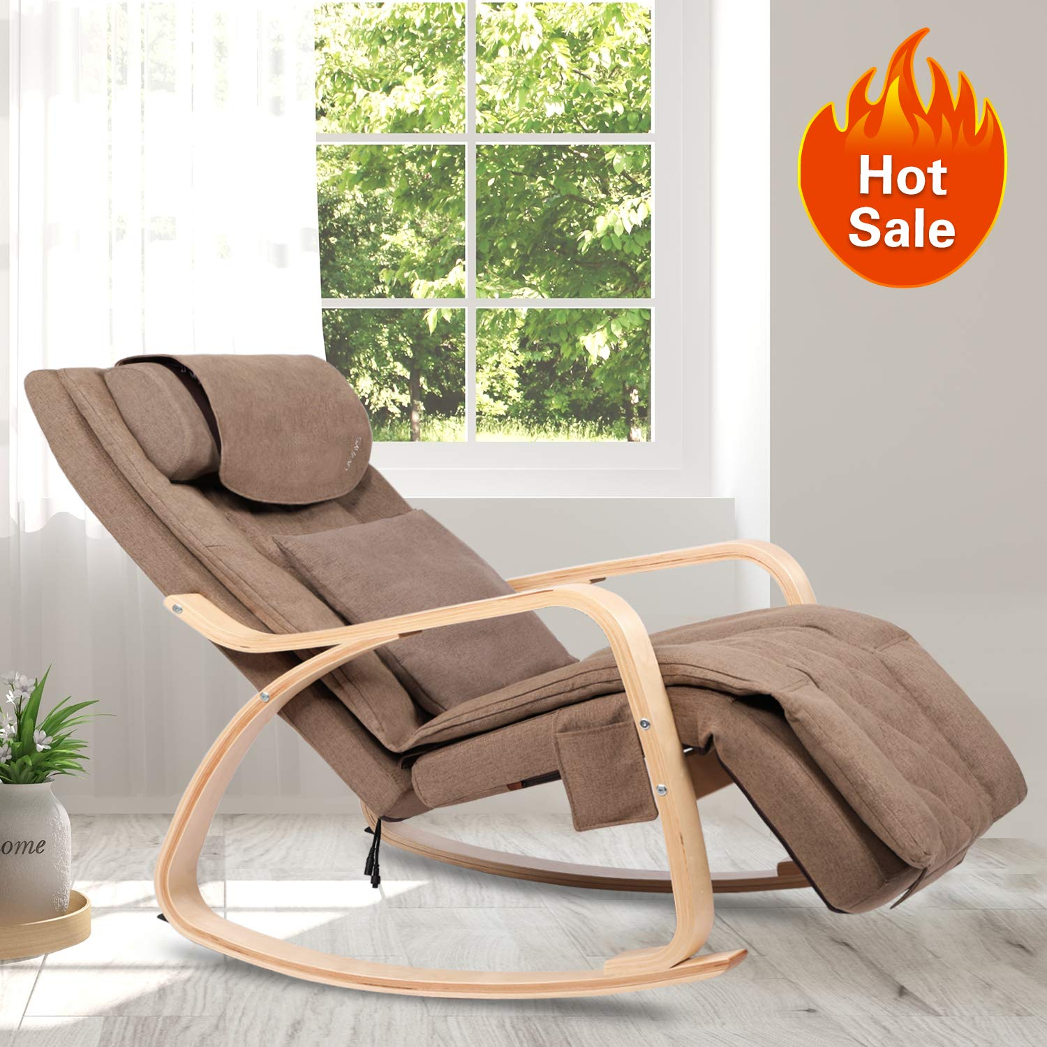 OWAYS Massage Chair 3D Full Back Massager, Rocking Design, Adjustable Pillow, Vibrating and Heating, 6 Massage Modes, Wooden Handrail, Linen Cover with Diamond Design by OWAYS