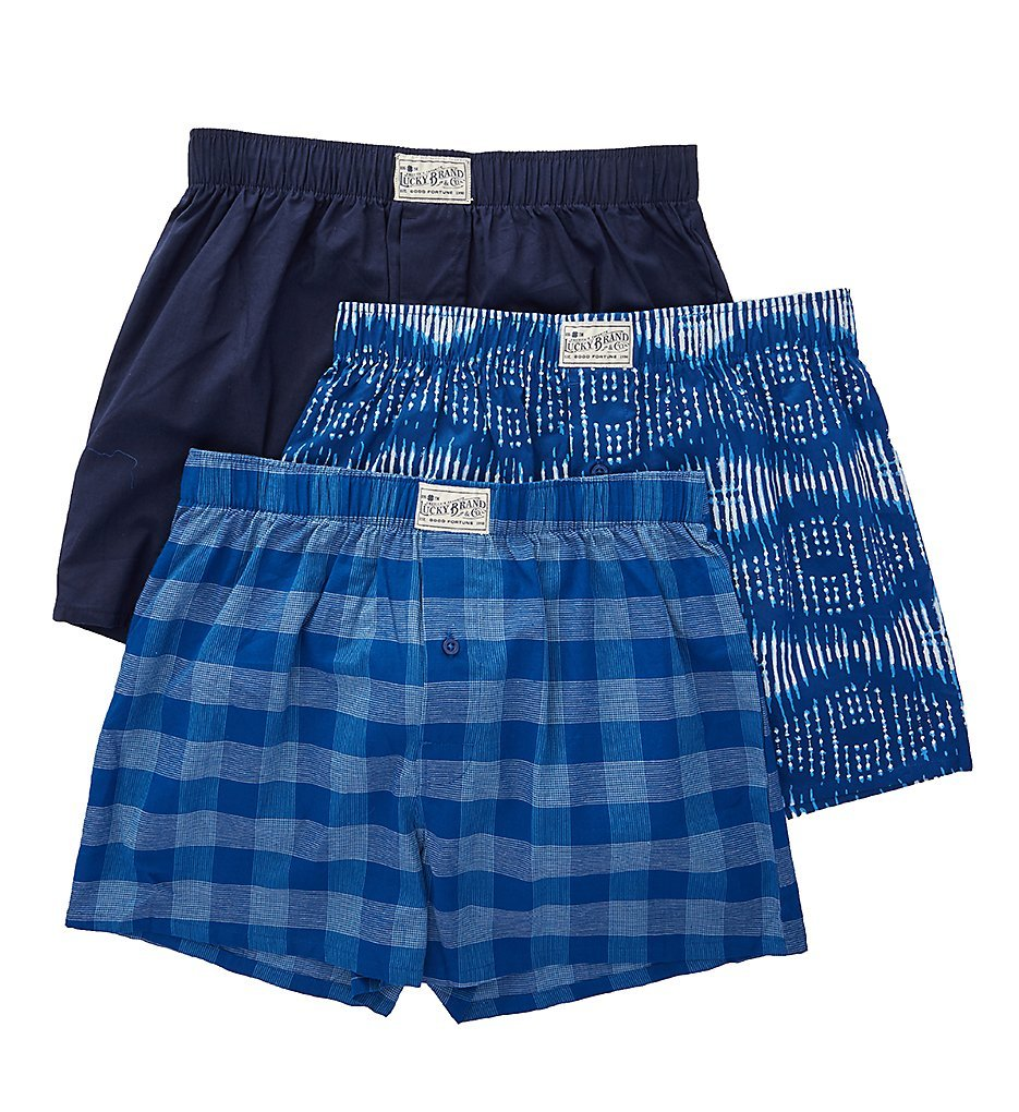 Lucky Assorted Woven Boxers - 3 Pack (181PB09) XL/Limgoes/Peacoat