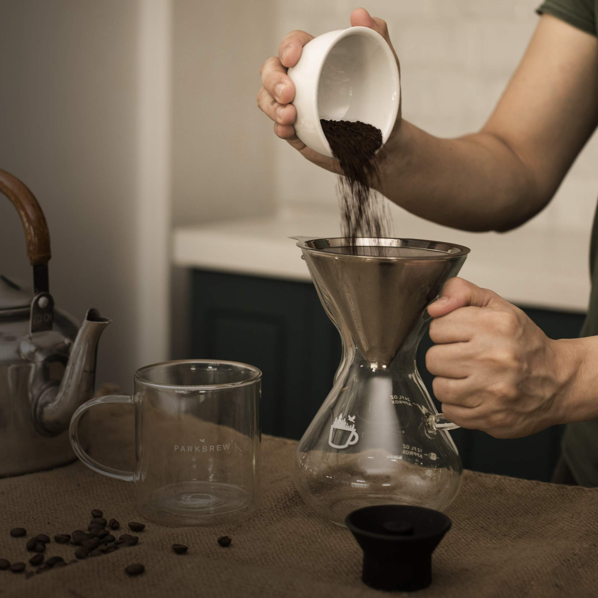 ParkBrew Pour Over Coffee Maker – kit includes coffee carafe (up to 27 fl. oz.), reusable coffee filter or coffee dripper, carafe lid, and double wall glass coffee mug by ParkBrew Coffee Co. (Image #6)