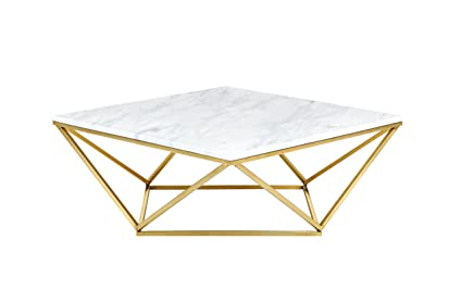 Awesome Meridian Furniture 212 C Mason Rich Gold Stainless Steel Coffee Table With  Genuine Marble Top