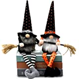 2PCS Halloween Witch Gnomes Plush w/Broom for Tier Tray Decor, Handmade Halloween Fall Tomte Swedish Gnome, Autumn Nisse Scan